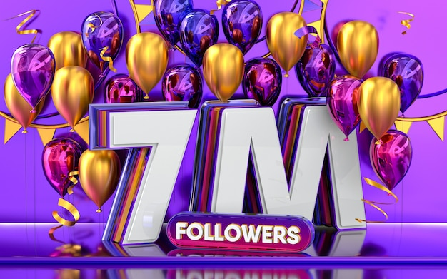 7m followers celebration thank you social media banner with purple and gold balloon 3d rendering