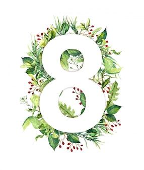 緑の葉、新鮮な草から作られた8月3日8。女性の日の花カード。ナチュラル水彩画