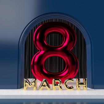 8 марта. международный женский день. 3d рендеринг