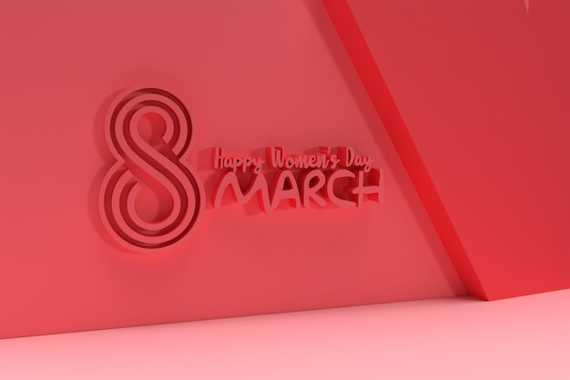 3月8日国際女性day3dのグリーティングカード