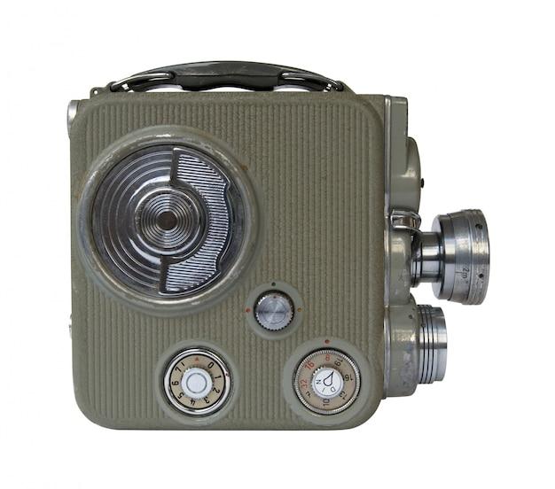 白い背景の上の古い8 mm映画カメラ