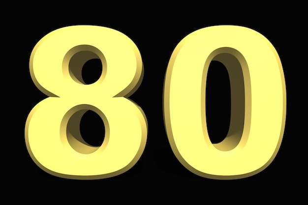 80 восемьдесят номер 3d синий на темном фоне