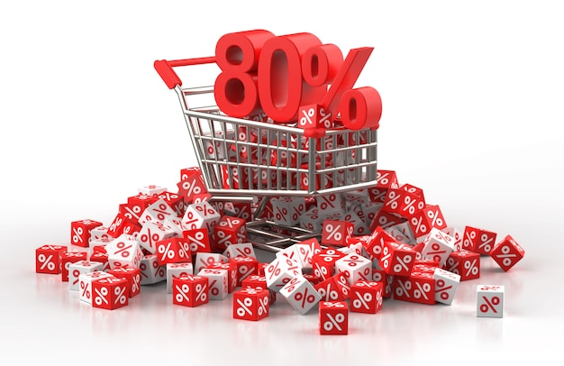 80 percent discount sale concept with trolley and a pile of red and white cube with percent in 3d illustration