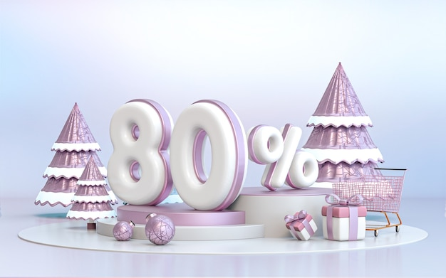 80 percent winter special offer discount background for social media promotion poster 3d rendering