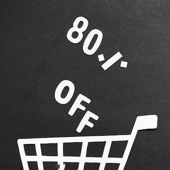 80% sale and paper shopping cart