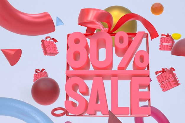 Продажа 80% с бантом и лентой 3d-дизайн на фоне абстрактной геометрии