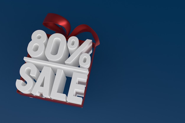 Продажа 80 с бантом и лентой 3d-дизайн на пустом фоне