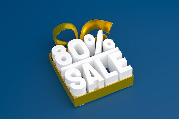 Продажа 80% с бантом и лентой 3d-дизайн на пустом фоне
