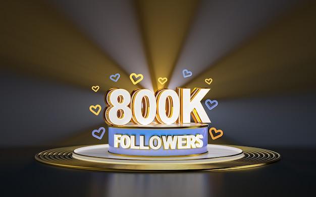 Празднование 800k подписчиков спасибо баннер в социальных сетях с золотым фоном прожектора 3d визуализации