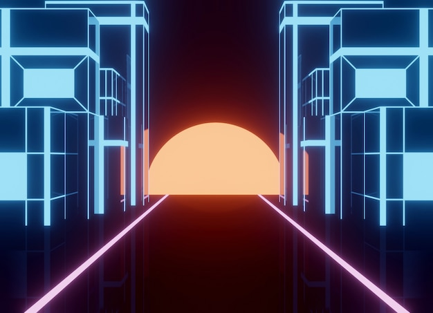 Неоновый стиль 80-х, винтажный ретро-игровой пейзаж с блестящей дорогой и зданием