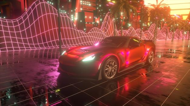 80s retro background . futuristic car drive through neon city.