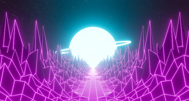 80年代のレトロで未来的な都市の背景の抽象的なグリッドランドスケープデザイン。 1980年代の地平線の山と濃い紫色のピンクのネオンライト銀河空間のゲーム3dレンダリングイラスト。