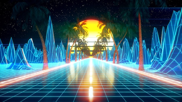 Футуристическая фантастика 80-х. пейзаж из видеоигры retrowave, неоновые огни и низкополигональная сетка местности. стилизованная винтажная паровая волна