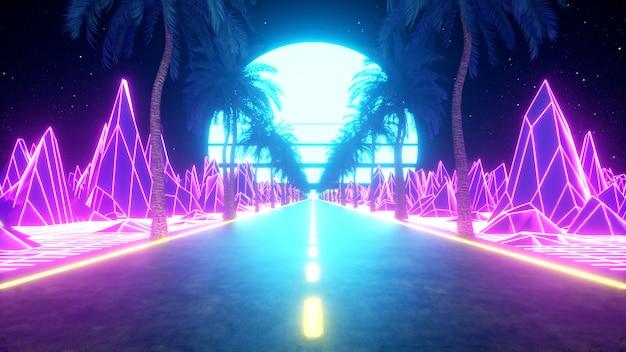 Футуристическая фантастика 80-х. ретровейв вид из видеоигры пейзаж, неоновая подсветка. стилизованная винтажная паровая волна