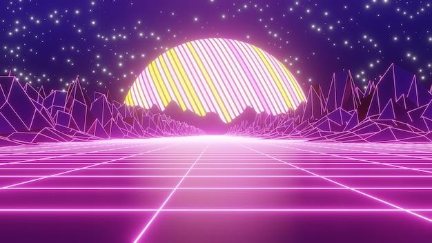 80년대 복고풍 및 공상 과학 팝 아트 장면의 벽지를 위한 80년대 복고풍 산 배경