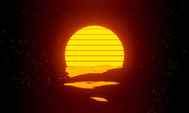 Ретро закат фон 80-х. футуристический пейзаж с солнечной волной в стиле 80-х годов. 3d визуализация для плаката, баннера.