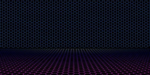 80 년대 증기 스타일 네온 그리드 복고풍 전기장 어두운 수평선
