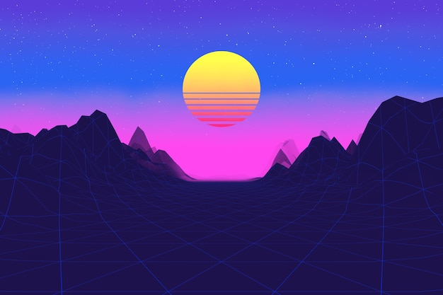 80s synthwave styled landscape with road, mountains and stripped sun extreme closeup. 3d rendering