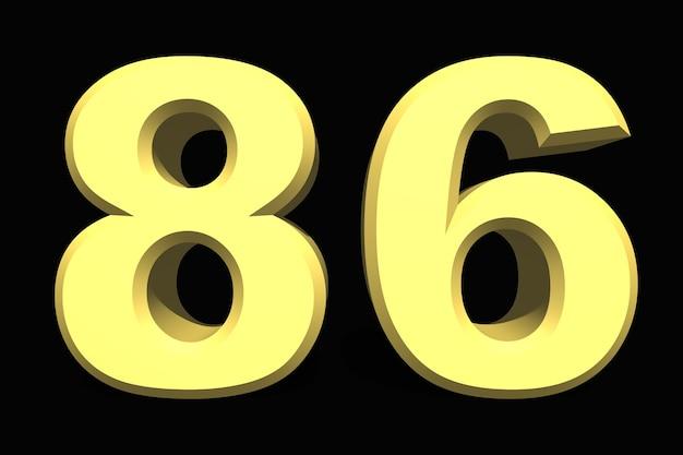 어두운 배경에 86 86 숫자 3d 파란색