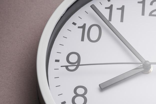 クローズアップホワイトの時計が8時を示す
