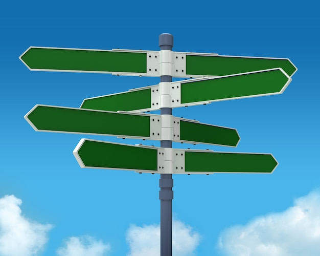空に8つの矢印(あなたのテキストを追加)で空白の方向標識