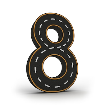 道路の形で数字の8つのシンボル