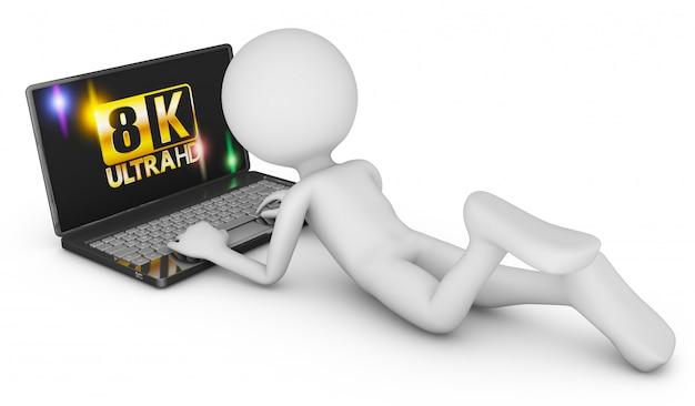 8k laptop and man