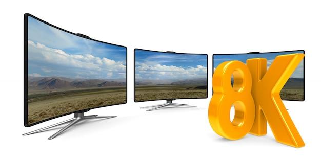 8k телевизор на белом фоне. изолированная 3-я иллюстрация