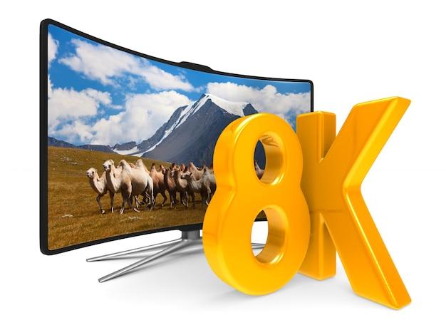 白い背景の上の8kテレビ。分離された3dイラスト