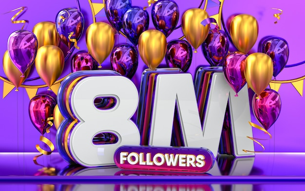 8m followers celebration thank you social media banner with purple and gold balloon 3d rendering