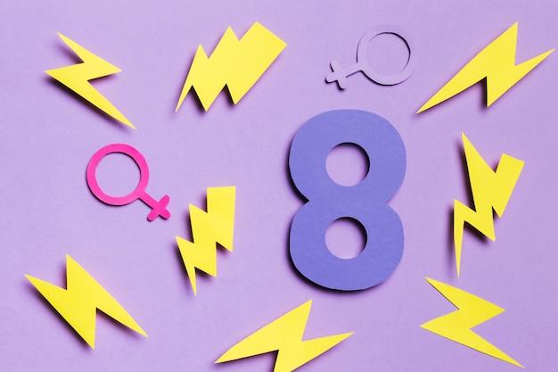 8 marzo con segni di genere maschili e femminili