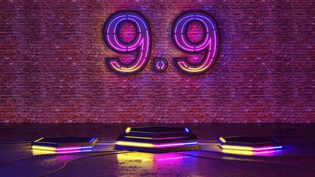 9.9 벽돌 벽 배경에 네온 불빛 연단. 3d 렌더링