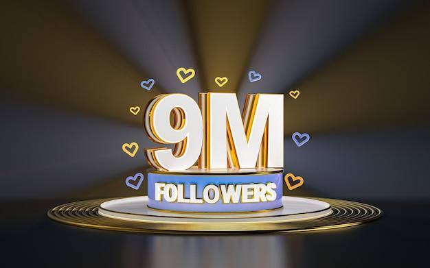 Празднование 9 миллионов подписчиков спасибо баннер в социальных сетях с золотым фоном прожектора 3d