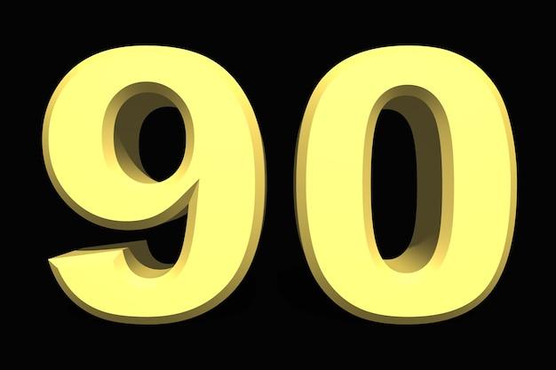 어두운 배경에 90 90 숫자 3d 파란색