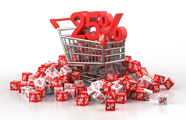 90 percent discount sale concept with trolley and a pile of red and white cube with percent in 3d illustration