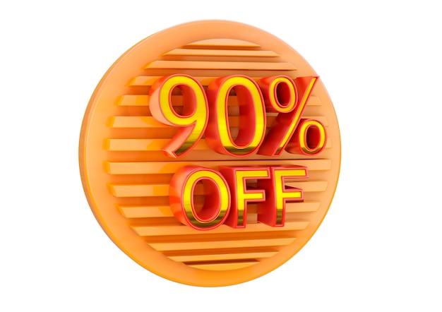 Скидка 90% на белой поверхности, рекламная марка для применения в баннерах, этикетках и бирках.