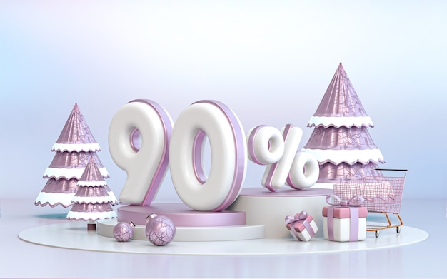 90 percent winter special offer discount background for social media promotion poster 3d rendering