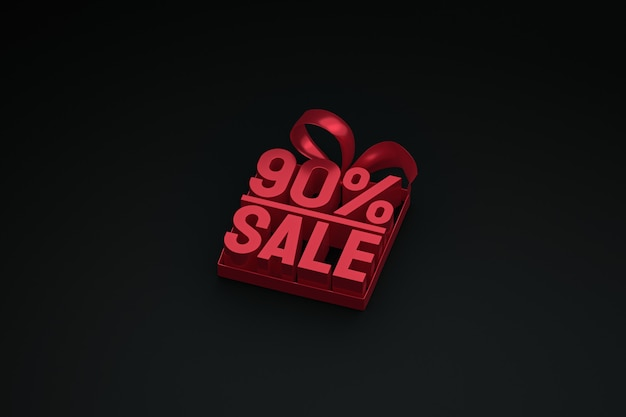 90% sale 3d tag in box with ribbon and bow on dark