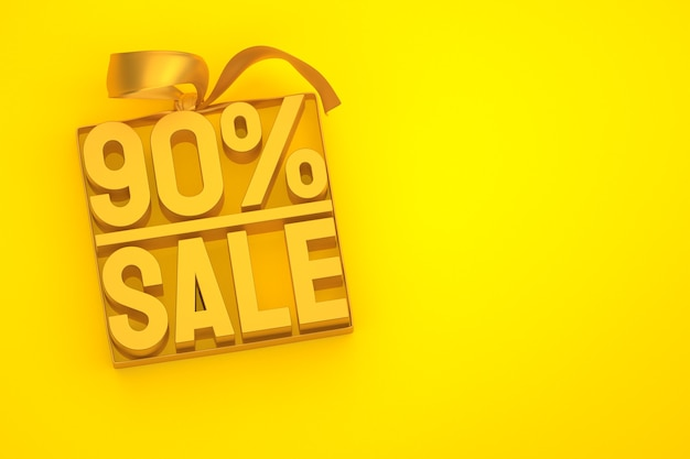 90% sale 3d tag in box with ribbon and bow on yellow