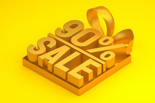 90% распродажа 3d бирка в коробке с лентой и бантом на желтом