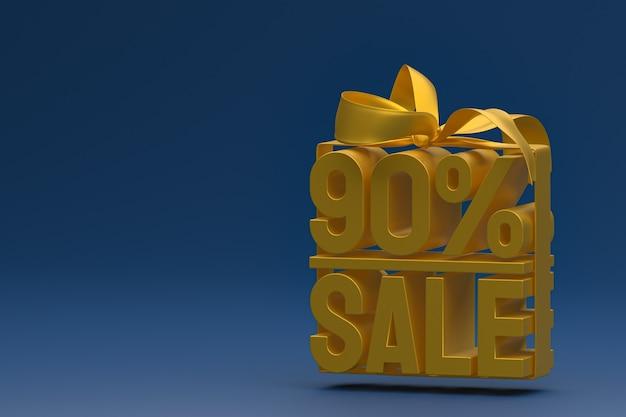 Распродажа 90% в коробке с лентой и бантом на синем фоне