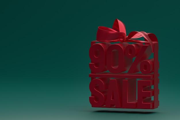 Распродажа 90% в коробке с лентой и бантом на зеленом фоне