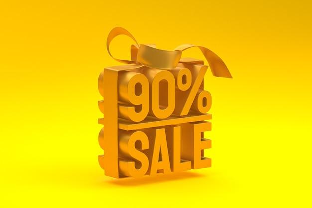 Распродажа 90% в коробке с лентой и бантом на желтом фоне