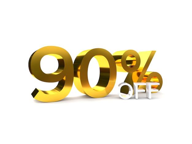 90% sale off discount. 3d golden number.