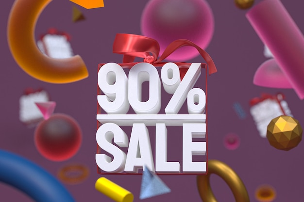 Распродажа 90% с бантом и лентой 3d-дизайн на фоне абстрактной геометрии