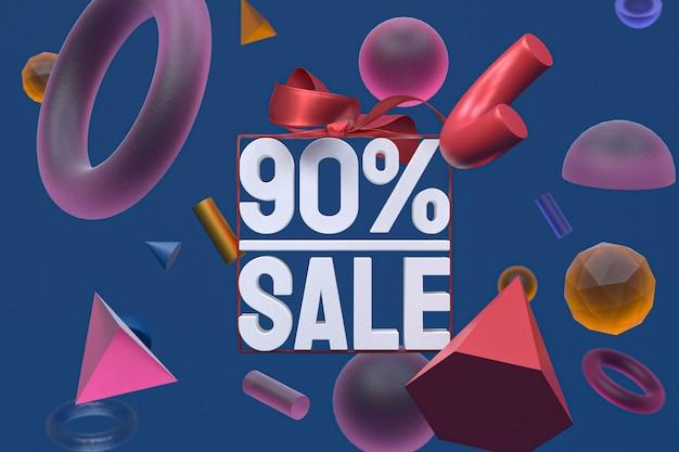 Распродажа 90% с бантом и лентой 3d-дизайн на фоне абстрактной геометрии Premium Фотографии