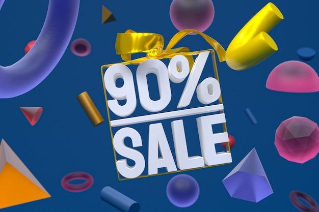 Распродажа 90% с бантом и лентой 3d-дизайн на баннере с абстрактной геометрией