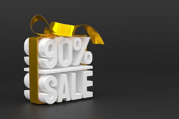 Распродажа 90% с бантом и лентой 3d-дизайн на пустом фоне