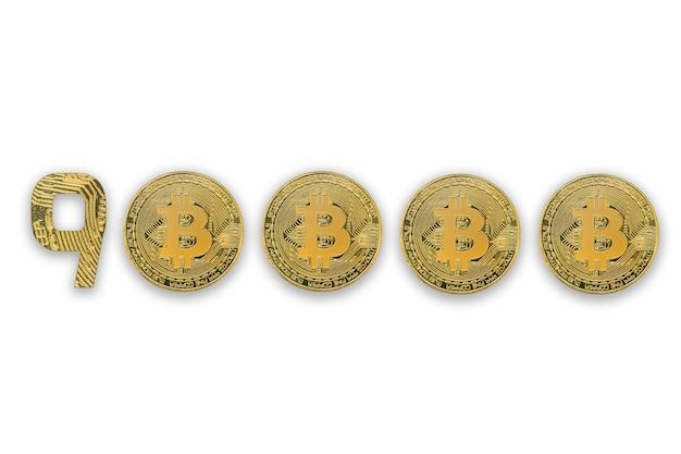 Курс обмена 90000 биткойнов, изолированный. стиль криптовалюты для дизайна.