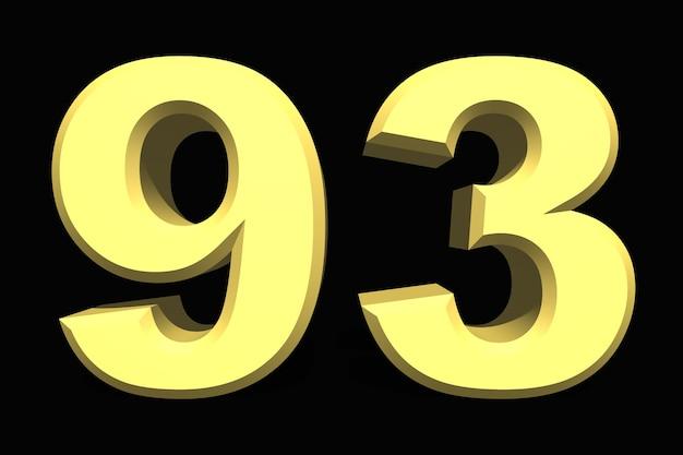 93 어두운 배경에 93 숫자 3d 파란색